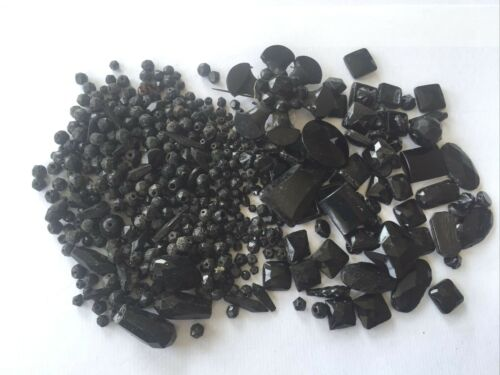 lot SPARE PROJECT French Jet beads many shapes total 230g