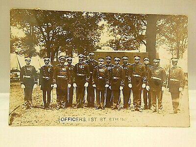 RPPC BLACK AMERICANA MILITARY OFFICERS WW1 REAL PHOTO POSTCARD UNUSED 1910 ILL.