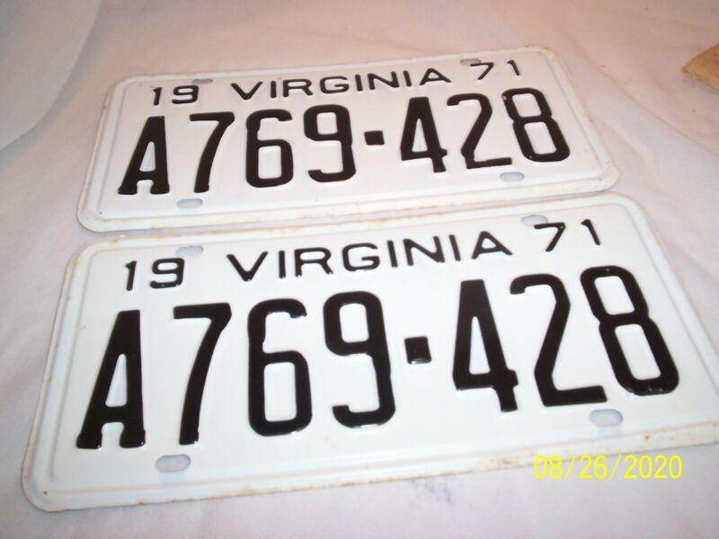 1971 NOS Virginia automobile License plates A769-428