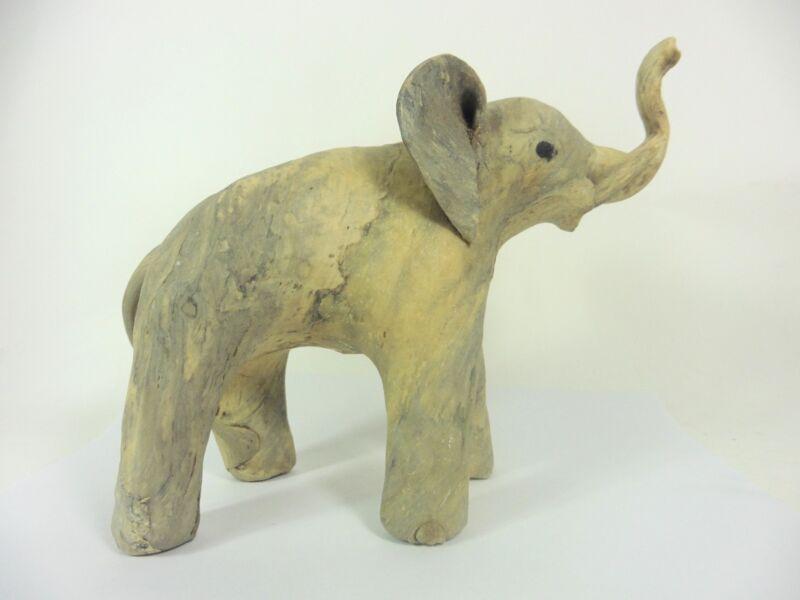 Wood Elephant Figurine Sculpture