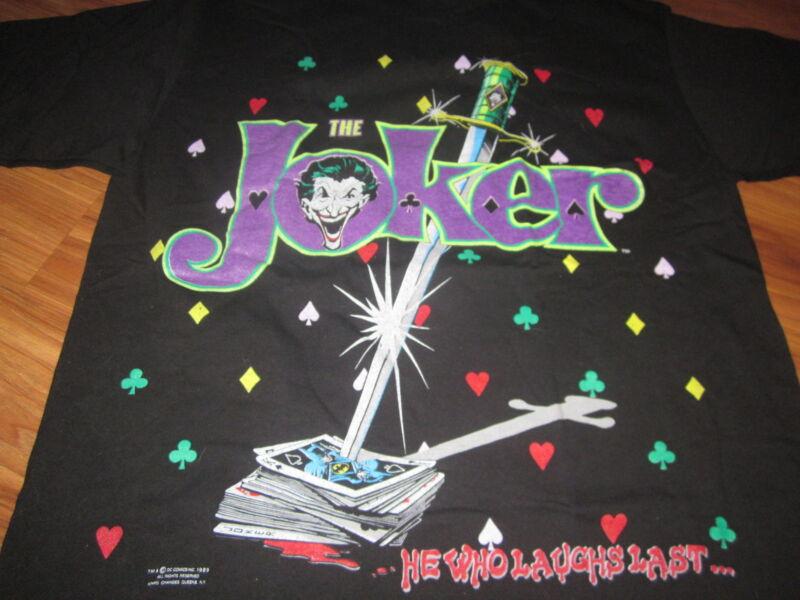 THE JOKER HE WHO LAUGHS LAST VINTAGE TEE SHIRT 89 BATMAN UNUSED UNWASHED  MED
