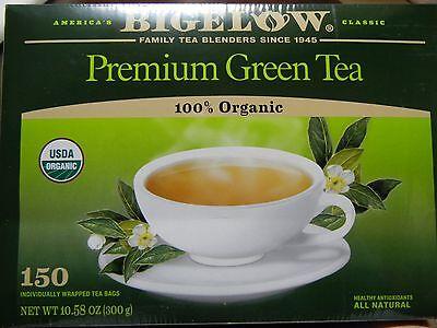 GREEN TEA BAGS BIGELOW 100% CERTIFIED ORGANIC NATURAL GLUTEN FREE ANTIOXIDANTS