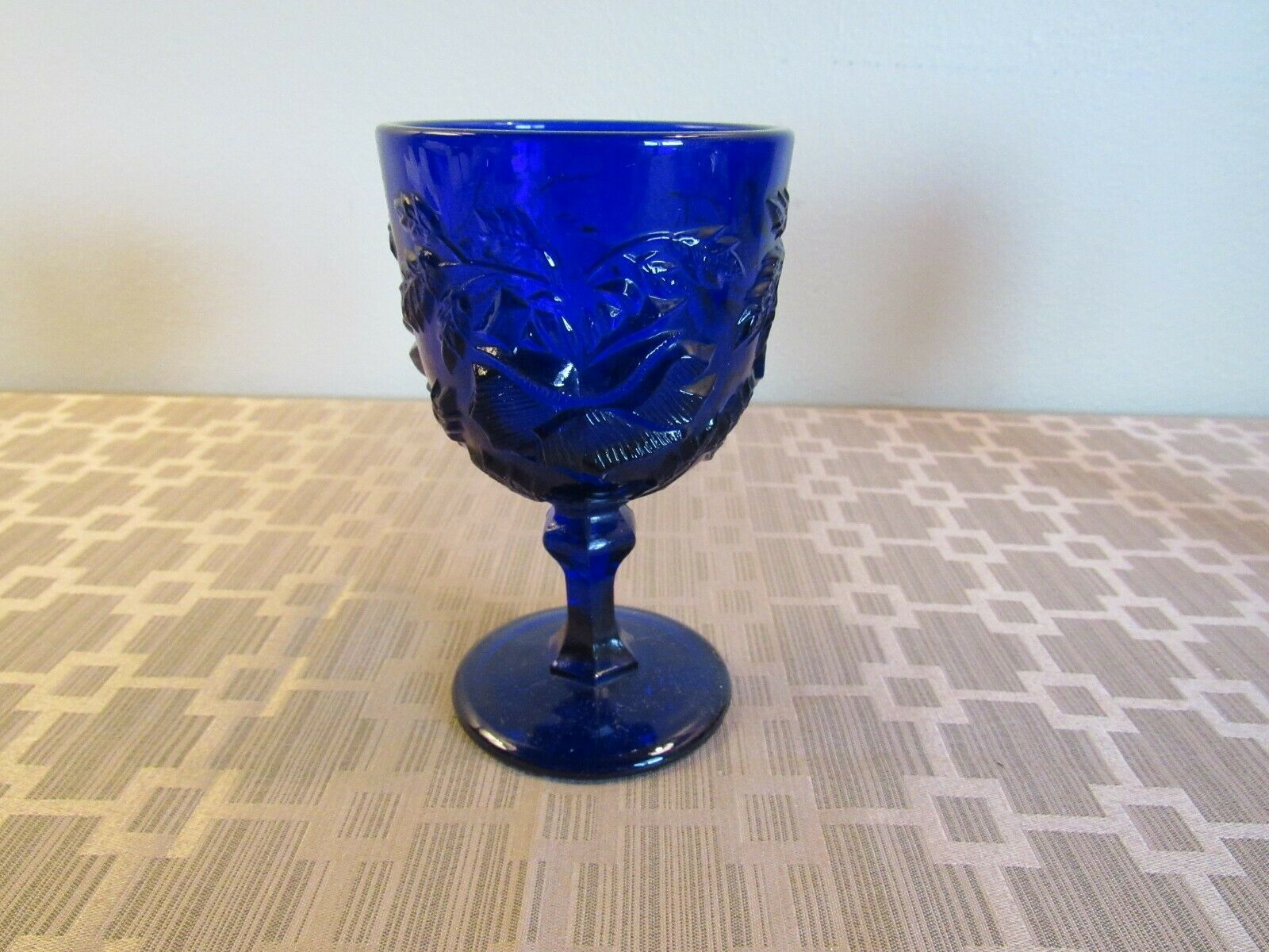 """MADONNA INN- SMALL GOBLET 5""""- ORIG OWNER-COBALT-PERFECT CONDITION,READ HISTORY!"""