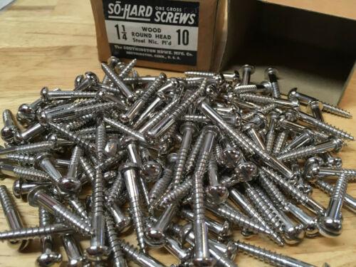 "144 New So Hard #10 x 1-1/4"" Nickel Plated Steel Round Head Wood Screws Slotted"