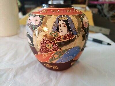 JAPANESE VINTAGE SATSUMA VASE RAISED MORIAGE, GILDED IMMORTAL WOMAN
