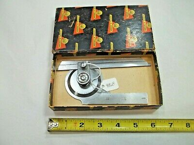Brown Sharpe Vtg. 493 Machinist Bevel Protractor W 6 Blade Pat. 5-1911 Usa