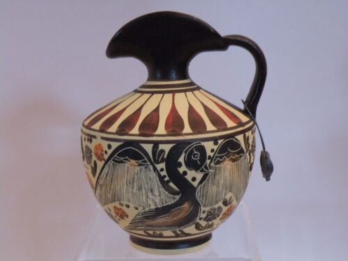 "arb23 ANCIENT GREEK MUSEUM REPRODUCTION CORINTH EWER 430 BC 4 3/8""  bird lion"