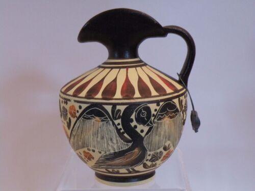 "432T - ANCIENT GREEK MUSEUM REPRODUCTION CORINTH EWER 430 BC 4 3/8""  bird lion"