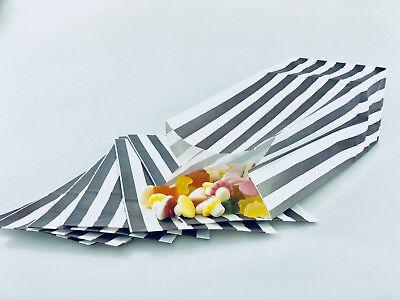 500 x Grey/Silver Candy Stripe Sweet | Popcorn | Pick n Mix  | Paper Bags