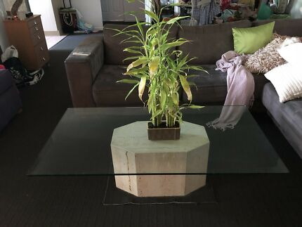 Glass top Coffee table and 2 x side tables - solid travertine base