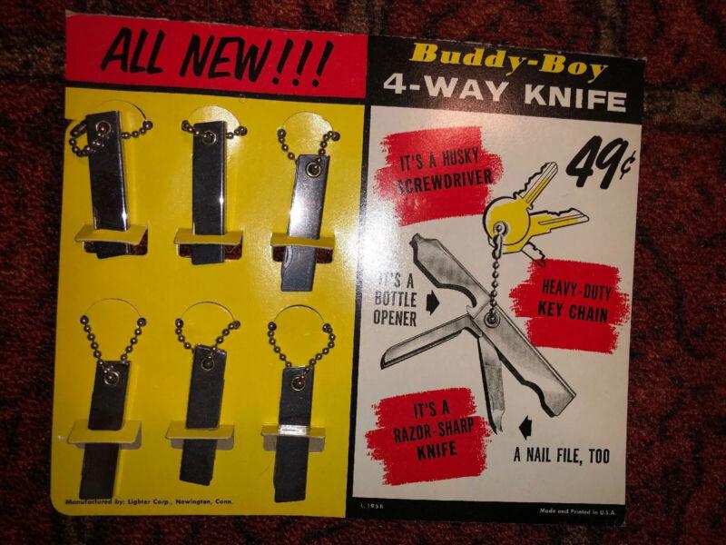 "VINTAGE ADVERTISING BUDDY-BOY CARDBOARD KNIFE DISPLAY 10""x8-1/2 1958"