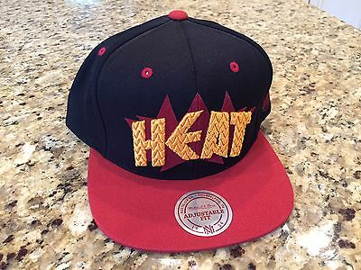 Mitchell and Ness Miami Heat NBA DYNAMITE Baseball Snapback Hat NEW Black/Red