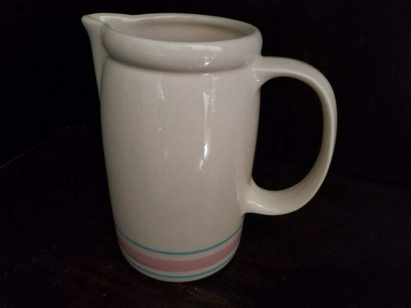 McCoy Pottery Vintage STONECRAFT #1429 Tall Pitcher with Pink and Blue Bands