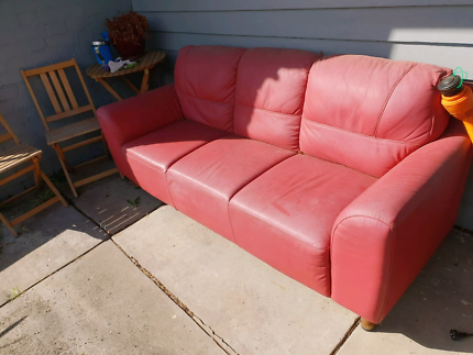 Red Leather Couch! Pick up only. | Sofas | Gumtree Australia Darebin ...