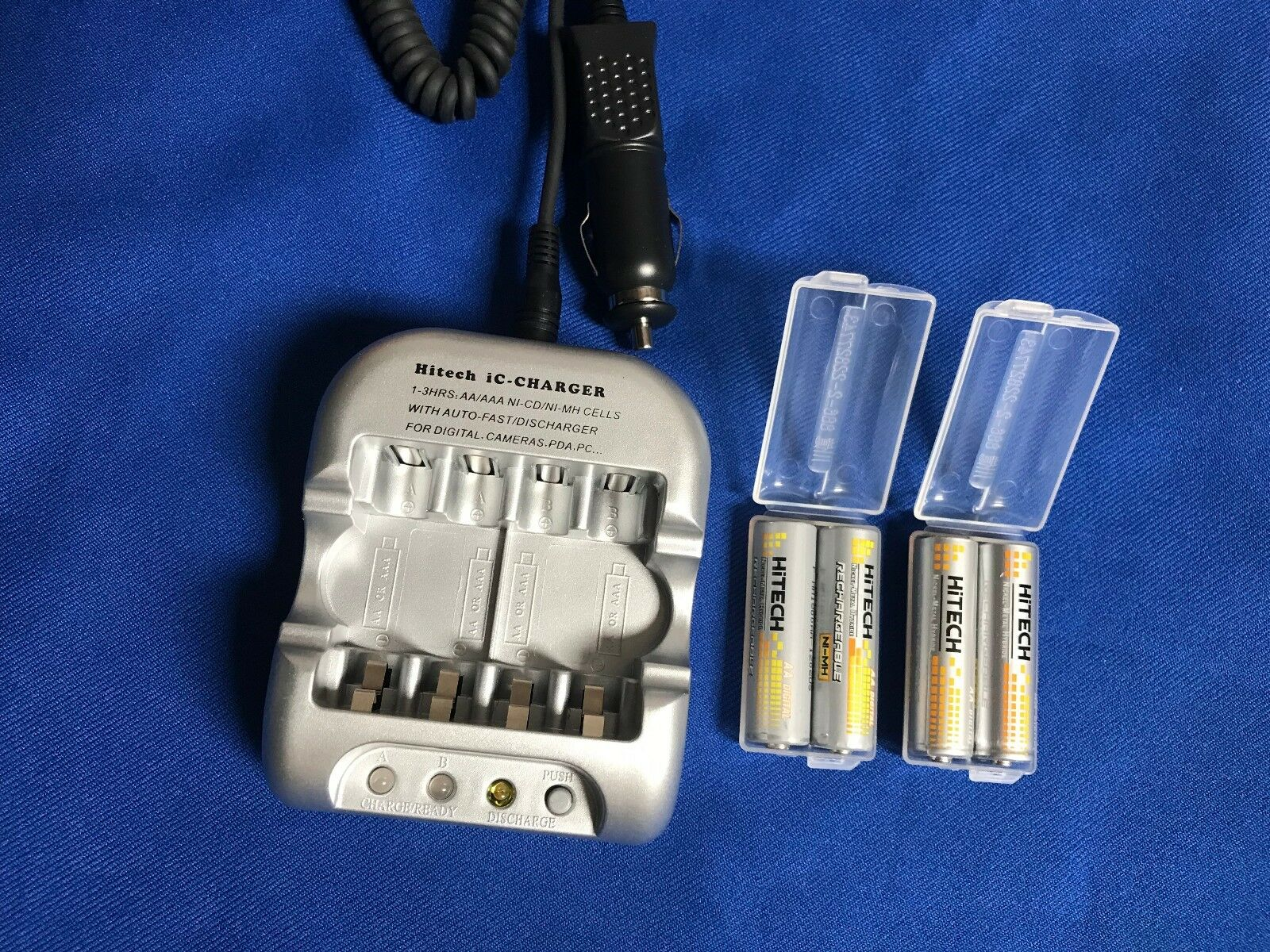 One set of 12v Car Cigar.Charger+4 AA Rechargeable NiMh 2500