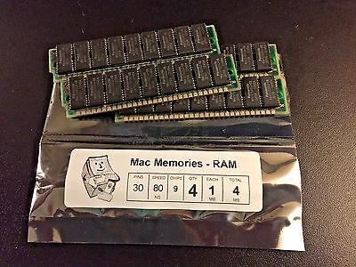 4x 1MB 30-Pin 80ns 9-chip (Parity) FPM Memory SIMMs Apple Macintosh SE Plus RAM