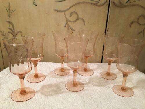 7 Floral Pink Depression Glass Water or Wine stemmed Glasses etched
