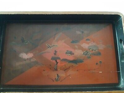 Vintage Wooden Serving Tray,breakfast,hand painted design..