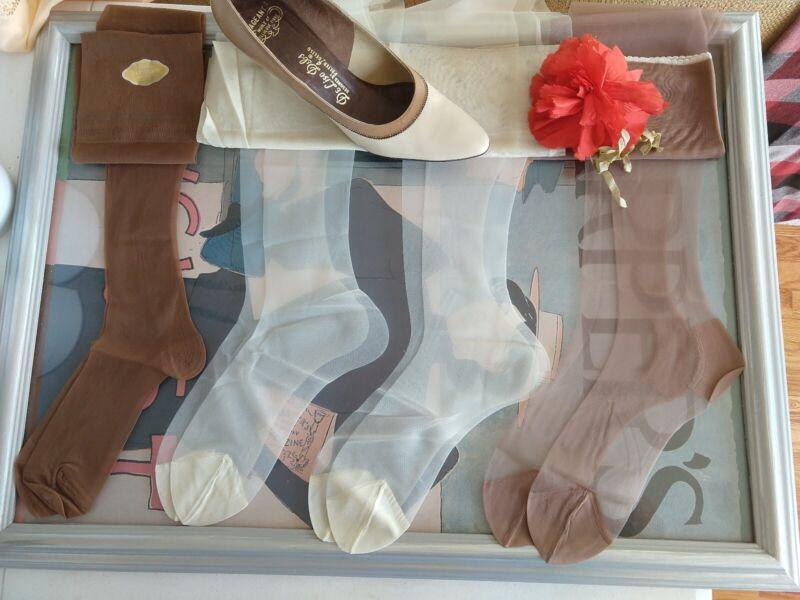 "Vintage nylon stockings lot - micro mesh / stretch - 7 prs -  9.5M 31""-32"""