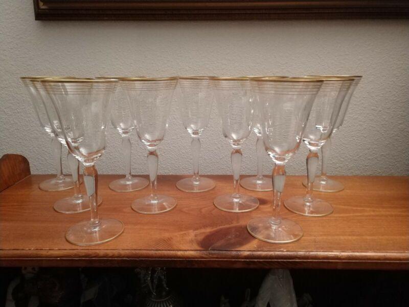 """Vintage Gold Trimmed 7.75""""  Wine Glasses Set Of 11"""