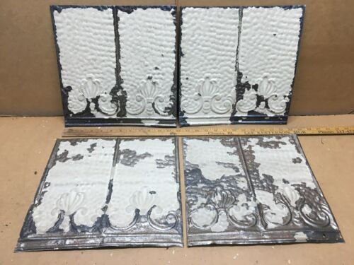 """4pc Lot of 12"""" x 12"""" Antique Ceiling Tin Vintage Reclaimed Salvage Art Craft"""