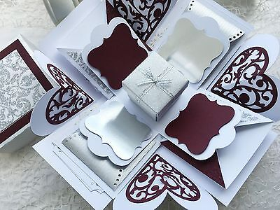 Plum And Silver Wedding (Exploding Box Silver, Plum and White perfect for Bridal Shower or)