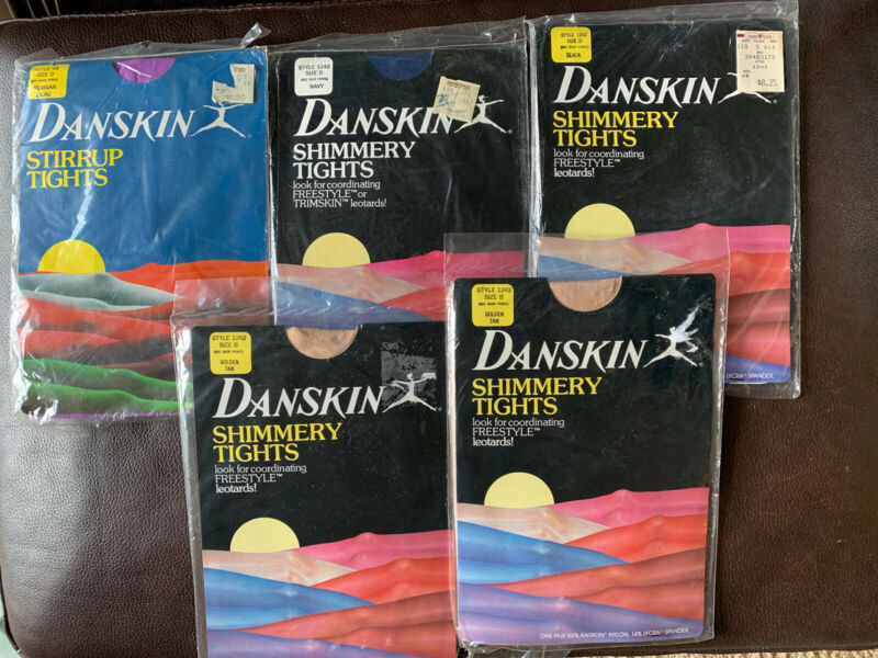 Danskin Shimmery Stirrup Tights  Size B And D Vintage 1985 Lot Of 5 Colors