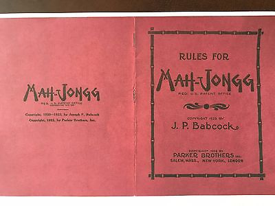 1923 copyright Mah-Jongg Babcock Rule book - Photocopy