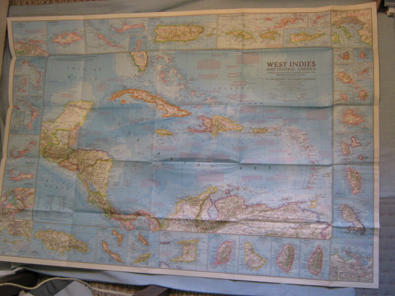 VINTAGE WEST INDIES & CENTRAL AMERICA MAP National Geographic January 1970 MINT