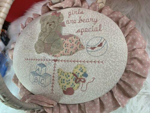 "Valorie Sockwell Folk Art Applique Basket ""Girls Are Beary Special"""