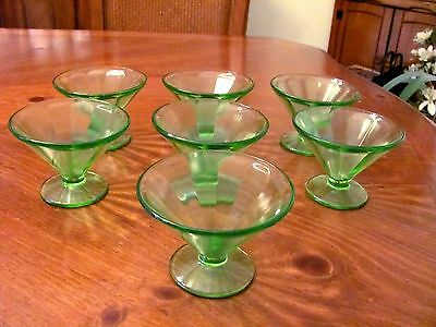 1920'S-30'S FEDERAL GLASS GREEN VASELINE BLOCK OPTIC PANEL 7 SHERBET CUPS EUC