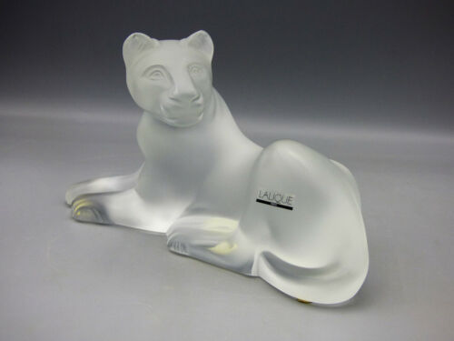 Lalique Simba Lioness Art Glass Frosted Crystal Sculpture Signed France Lion