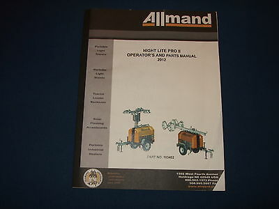 Allmand Night Lite Pro Ii Operation Maintenance Parts Book Manual