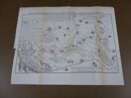 1846 MAP OF NILE REGION GERMAN EGYPT EGYPTIAN RARE EXAMPLE DELTA AFRICA