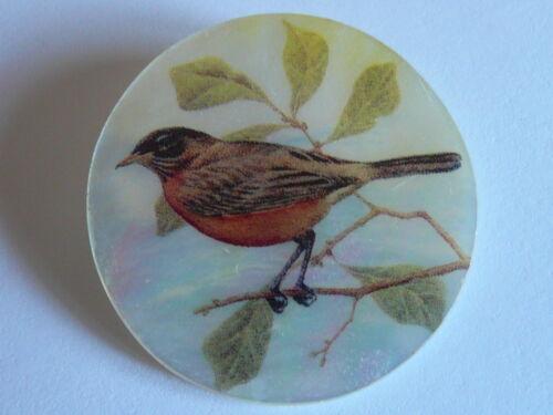 "Beautiful Robin Bird Button on Mother of Pearl MOP Shank Button 1+3/8"" Robin"