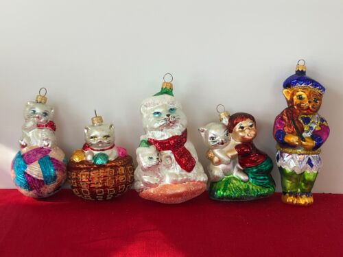 Retired Christopher Radko Cat Group of 5 Handblown Ornaments (#1)