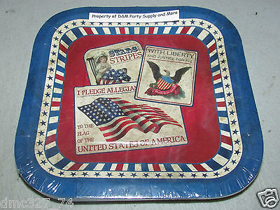 8 4th of July VINTAGE Styled PATRIOTIC Americana PAPER Party DESSERT PLATES 7