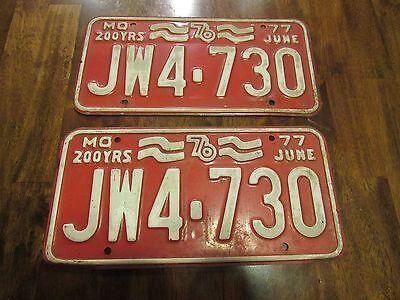 JUNE 1977 Missouri License Plates, JW4-730