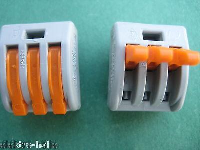 50 Wago Steckklemmen Verbindungsklemmen 222-413  3x 0,08- 4mm² NEU+Rechnung