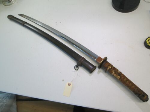 WW2 JAPANESE OFFICERS SWORD WITH SCABBARD SIGNED KOA ISSHIN DATED GENDITO #X20