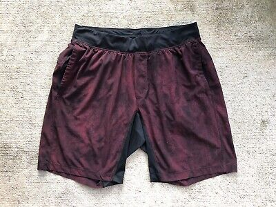 "Lululemon Men's T.H.E. Shorts XL Large Dark Red Black Liner 9"" Inseam"
