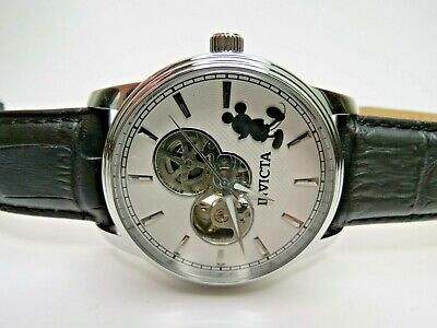 Invicta Automatic Disney Mens Watch Mickey Mouse Black Leather 24500