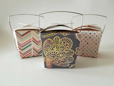 Chinese Take Out Boxes Designer Dots Set Of 6 With 3 Designs Small Favor Size
