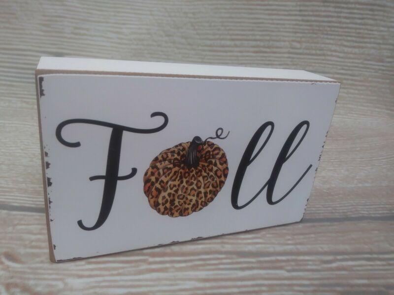 """New """"FALL"""" Box Frame Wood Sign FALL Decor Harvest Leopard PUMPKIN Distressed"""