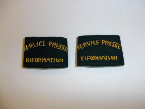 c0391p WW2 Indochina French Service Presse Information Shoulder Press pair R10E