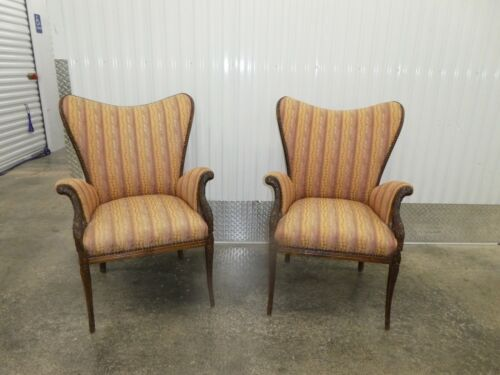 PAIR HOLLYWOOD REGENCY GROSFELD HOUSE STYLE CLUB CHAIRS W FEATHERED ARMS