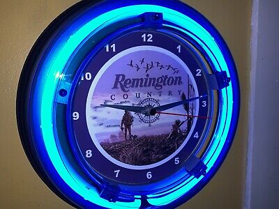 Remington Firearms Rifle ShotGun Duck Hunting Store Man Cave Neon Clock Sign