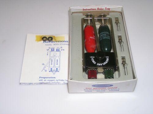 NICE Vintage Original Microflame Gas Welding Torch W/ Box Tanks 3 Tips