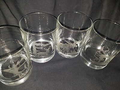 Wildlife 16 oz Custom Etched drinking glasses - set of 4  - Custom Drinking Glasses