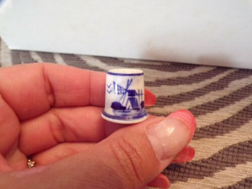 Collectible Thimble Blue Windmill